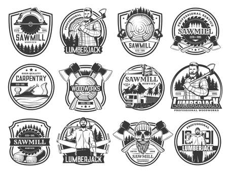 Lumberjack, lumbering and logging wood forestry, vector skull in hat icons. Lumberjack logger woodwork and sawmill service emblems with woodcutter crossed axes, saw logging trucks and joiner plane