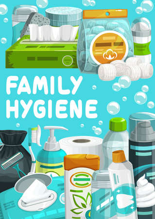 Family hygiene and body care products. Wet and dry wipes package, liquid soap and toilet paper, shaving foam, razor blade and toothpaste. Antiperspirant, pumice and cotton pads, shampoo cartoon poster