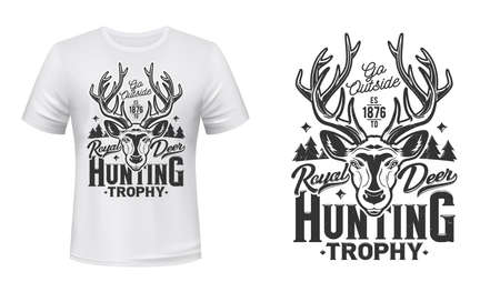 Deer hunting t-shirt print mockup, hunt trophy club vector emblem. Wild forest royal deer or reindeer buck head muzzle, open season hunt and hunter club animal mascot badge for t shirt print
