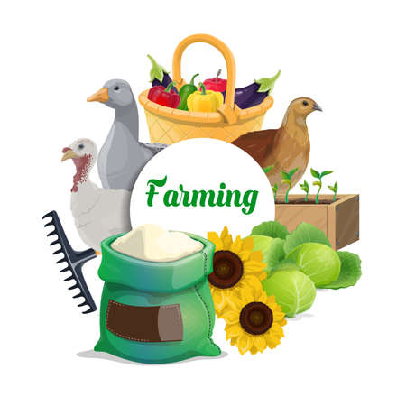 Farming food products round banner. Vegetables in wicker basket and plants seedling, goose, turkey and quail, cabbage, sunflower, flour sack. Farm poultry, vegetables hwheatarvest growing poster