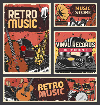 Retro music store and vinyl records shop banner. Music instruments, recording and playback equipment. Violin, saxophone and synthesizer, piano, guitar and maraca, vinyl discs turntable engraved vector
