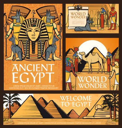 Ancient Egypt posters, vector Great pyramids of Giza, Sphinx and Egyptian deities gods Anubis, Amun and Hathor with Thoth, goddess Ausar near Abu Simbel temple in desert with camel cartoon banner 向量圖像