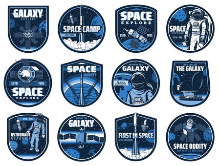 Outer space vector icons with glitch effect. Astronaut academy, galaxy, rocket. Cosmos explore shuttles expedition, exploration or adventure. Satellite space camp, rover on alien planet surface labels