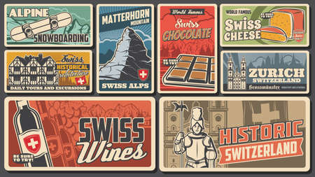 Swiss famous landmarks vector wine, cheese, farvecht houses architecture and chocolate, snowboarding alpine rides and Switzerland travel to matterhorn mountain. Swiss culture and history banners set