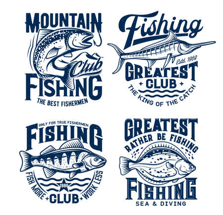 Fishing sport t-shirt prints set. Vector salmon, perch, flounder and marlin, mascot for sea adventure club. Nautic grunge t-shirt emblem, ocean sports team apparel template design with fishes on waves