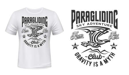 Paragliding sport club t-shirt vector print. Eagle or condor flying in sky under mountain peaks illustration and retro typography. Adventure sport club apparel custom design print mockup 向量圖像