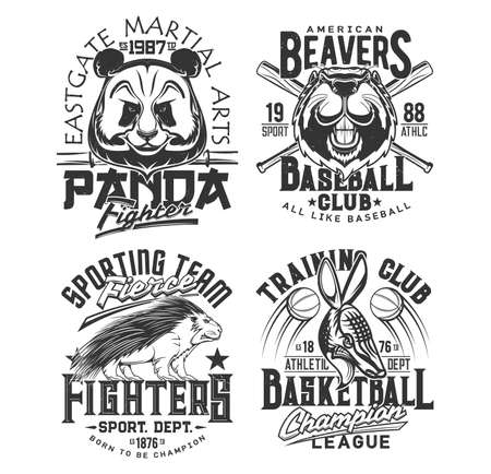 Baseball, basketball team t shirt print sport club vector emblems. Street fighting martial arts and athletic varsity sport league mascots, panda, American beaver and porcupine t-shirt prints
