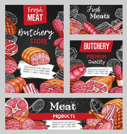 Meat, butcher shop sketch beef, pork and lamb food, vector chalkboard menu. Butchery farm market meat and sausages, steaks, ham and barbecue ribs, chicken, bacon pork filet and roast beef in sketch