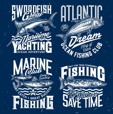 Ocean fishing and yachting club t-shirt print. Swordfish or marlin, tuna fish and sprat, northern pike engraved vector. Fishing sport clothing print design template with trophy catch 向量圖像