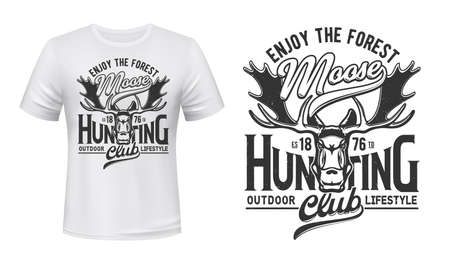 Tshirt print with moose, vector mascot for outdoor lifestyle club. Elk on white apparel mockup, enjoy the forest grunge typography. Hunting, outdoors adventure team isolated t shirt monochrome label 向量圖像