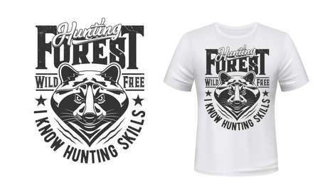 Raccoon hunt t-shirt print mockup hunting club emblem, vector wild animal head. Racoon or raccoon forest hunt, Wild and Free quote for hunter club sign badge and t shirt print