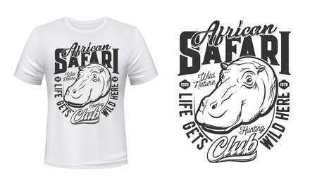 Tshirt print with hippo, vector mascot for african safari hunting club apparel mockup. T shirt template with hippopotamus and typography. Monochrome print with sea cow, isolated emblem or label design
