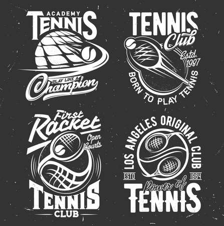 Tennis sport vector tshirt prints. Playing rackets and balls on black grunge background. Tennis sports team, academy monochrome emblems with white typography. T shirt prints, monochrome templates set