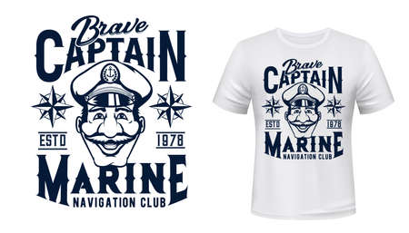 Marine captain t-shirt vector print. Brave captain wearing forage cap with anchor on badge, wind rose illustration and typography. Marine sailing, navigation club apparel custom design print mockup