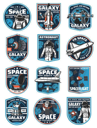 Astronaut in galaxy, rocket in outer space vector icons. Cosmos explore shuttles expedition, exploration or adventure. Satellite in space, rover on alien planet surface. Colonization mission labels