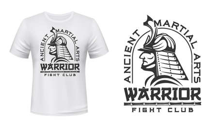 Warriors fight club t-shirt print mockup, ancient martial arts vector emblem. Japanese samurai in antique armor and helmet head, bamboo or katana blade sword sign for fight club t shirt print