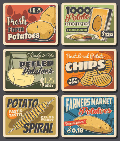 Potato meals and vegetable farm harvest banners. Ripe and peeled potatoes, chips spiral and street food meal menu vector. Farmer market product, fast food dishes retro posters with vintage typography 向量圖像