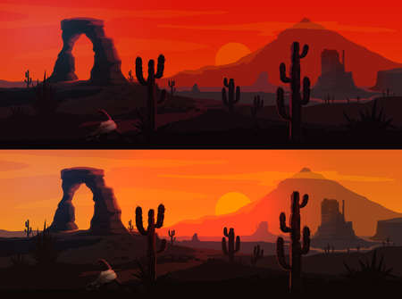 USA desert landscape vector backgrounds with Arizona or Western nature. Mexican saguaro cactuses and Wild West mountains, sunset and sunrise suns, rock and sand roads, bull skulls, red sky and clouds 向量圖像