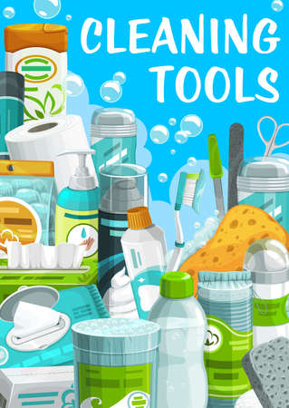 Cleaning tools, hygiene and body care products wipes package, liquid soap and toilet paper, shaving foam, clippers and toothpaste. Antiperspirant, pumice or cotton pads, sponge, shampoo cartoon poster