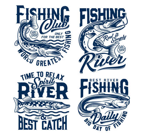 Fishing club, fishes t shirt prints, fisher club vector emblems and water waves icons. River fishing for pike and catfish on rod hooks, fishery sport and big catch quotes for t-shirt prints 向量圖像