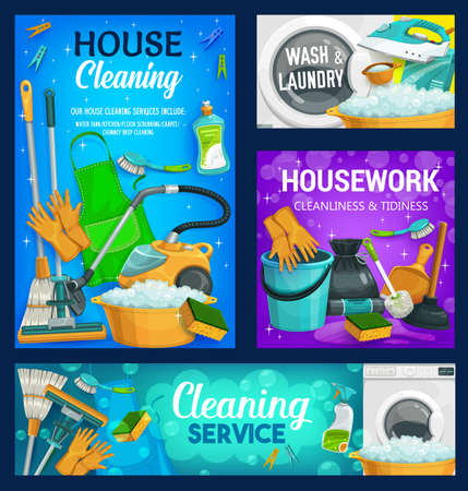 House cleaning service, home cleaners, household housework and laundry, vector. House cleaning spray, bucket and brush, laundry washing detergent, broom and floor mop, soap and clean shines