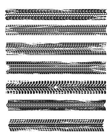Tire prints, black car tires track, isolated grunge vector marks. Bike race, vehicle, transportation dirty wheels trace. Rubber tires prints, automobile or bicycle drag. Monochrome graphic pattern set 向量圖像