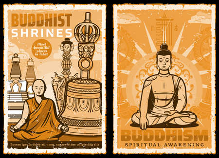 Buddhist shrines. Vector posters with Buddha and Tibet monk meditate sitting in lotus yoga pose on background with stupa and bell. Buddhism asian religion spiritual culture or tradition attributes