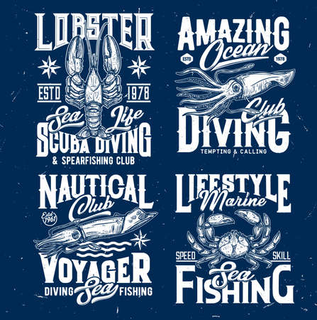 Scuba diving and marine fishing t-shirt print template. Lobster, squid or cuttlefish and crab engraved vector. Diver and fishermen retro emblem, clothes custom design print with sea animal mascot