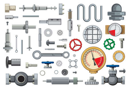 Mechanisms spare parts and engineering industry elements cartoon vector set. Worm, bevel, and helical gears, pipeline gate valves, piston pin and pressure gauges, hydraulic cylinder, bolts and gaskets