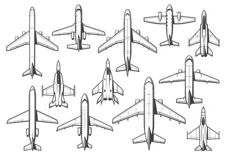 Modern civil and military aircraft set. Passenger airliner, business jet and cargo plane, army fighter or interceptor, bomber thin line vector. Commercial aviation and air forces combat airplanes