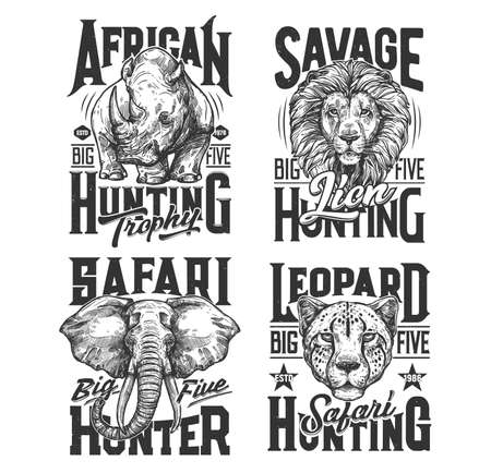 Safari hunting shirt prints, wild African animals and hunt club trophy vector icons. Safari hunt sport emblems with animals heads of lion, elephant, leopard and rhinoceros, quotes for t-shirt prints