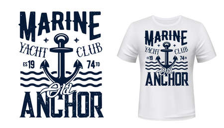Yachting club t-shirt vector print with anchor. Old admiralty pattern yacht anchor illustration and grungy typography. Marine yachting and sea sailing sport apparel custom print mockup