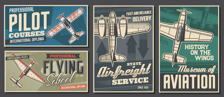 Pilot courses and flying school banners. Air cargo or freight delivery service, aviation history museum exhibition retro posters. Old propeller monoplane, vintage aircraft top view vector