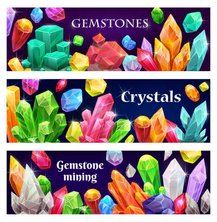 Precious crystals and gems, jewelry banners. Rare gemstones, geologic minerals crystals and shiny gem stones vector. Gemstones for jewelery mining, minerals treasure and magic stones