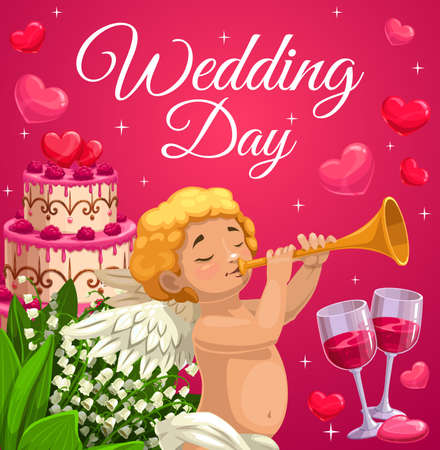 Wedding day celebration and marriage ceremony. Cherub or angel blowing in trumpet, wedding cake with raspberry and heart decoration, lily of the valley flowers bouquet and two wineglasses vector