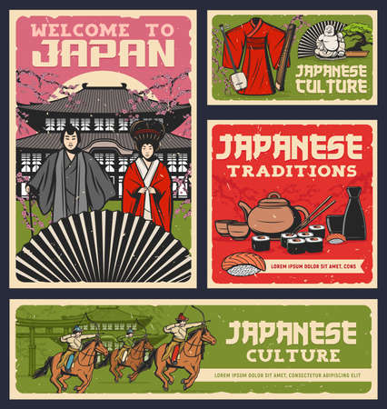 Japanese food, culture and religion traditions vector design of sushi rolls, geisha and samurai with kimono and fan. Pagoda, sakura, sake and tea set, bonsai, torii gate and yabusame archery