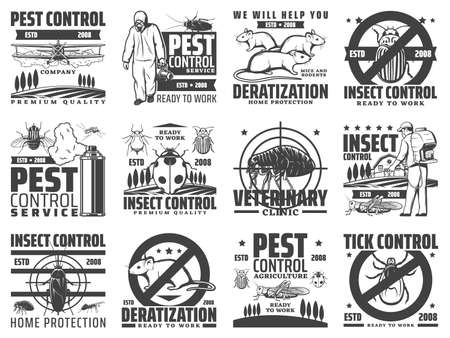 Pest control service, rodents and insects extermination icons. Deratization, insects extermination and agricultural pest control with pesticide dusting, veterinary clinic and tick danger vector emblem
