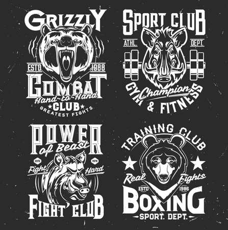 Tshirt prints with wild bear and boar, vector mascots for sport and fighting club. Apparel uniform design with wild predators. T shirt activewear template, monochrome print, badge with pig and grizzly 向量圖像