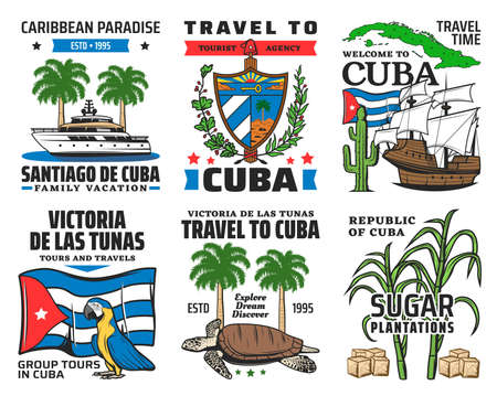 Cuba tourist travel, caribbean paradise family vacation icons. Yacht and royal palm, cuban coat of arms and national flag, macaw parrot, sea turtle, sugarcane and Christopher Columbus ship vector