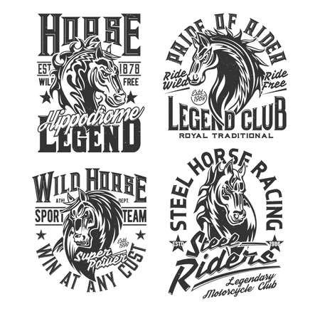 Horse racing t shirt prints, equestrian sport and motorcycle biker club vector icons. Royal equestrian hippodrome rides, motorcycle bikers club and polo team badges of heraldic horse for t-shirt print