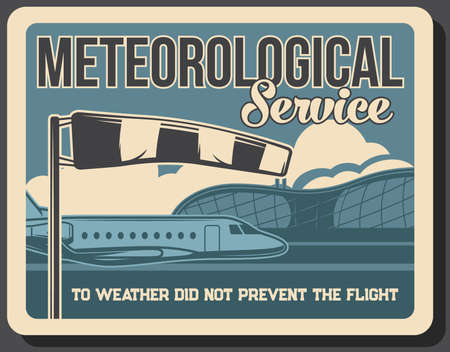 Airport meteorological and navigation service. Private jet, passenger business airplane and international airport flight terminal building, windsock vector. Airline or aviation industry retro banner 向量圖像