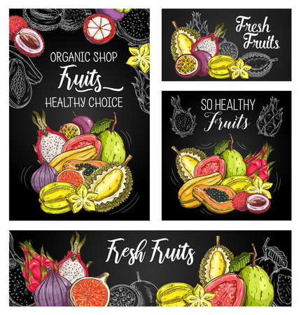 Exotic fruits vector posters with sketch mangosteen, papaya and figs, durian with carambola, guava, lychee, pitahaya and passion fruit. Chalkboard hand drawn engraved natural tropic eco food banner 向量圖像