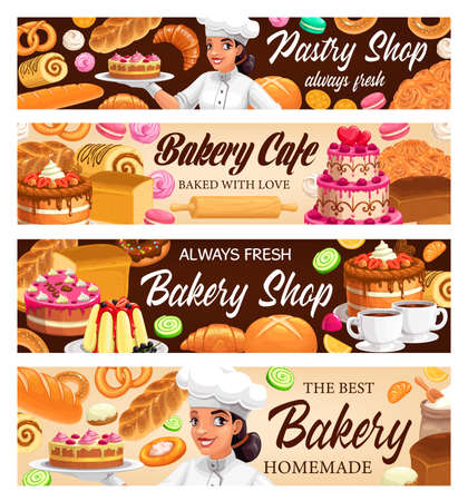 Desserts, cakes and bakery vector banners. Bake bagels and buns, fresh baking sweet dessert donut, croissant and baguette, pretzel and cupcake. Macaroon and meringues Baker shop pastry assortment