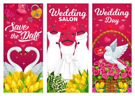 Wedding day, marriage banners with bridal dresses, swans couple and white dove. Tulips, roses and lily of the valley flowers bouquets, key from heart and ring hand drawn vector. Wedding salon poster