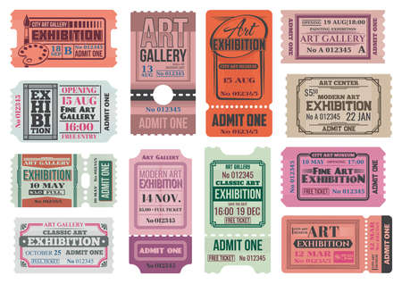 Art gallery and museum exhibition retro tickets, admits vector templates. City museum, art center and painting gallery entrance coupon, event access card, invite card or ticket with tear off part 向量圖像