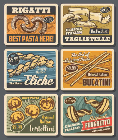 Italian pasta retro posters, vector macaroni rigatti, tagliatelle and eliche with bucatini, tortellini and funghetto. Food of Italy, traditional meals with price tags, grocery store vintage cards set