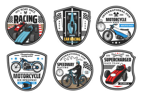 Racing sport icons, motocross and cars races club badges, championship vector icons. Speedway motorcycle racing and motor sport cars rally international cup tournament, wheels and finish flag 向量圖像