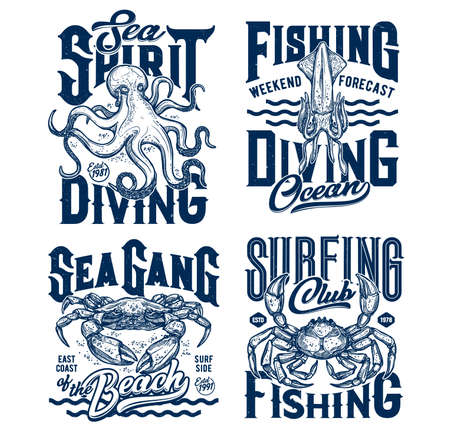 Tshirt prints with underwater animals vector sketch squid, crab and octopus. Scuba diving or fishing club mascots, ocean creatures and blue grunge typography on white background, t shirt emblems set 向量圖像