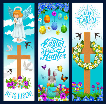 Easter holiday banners with eggs and bunny, angel, flowers and Christian cross. Happy Easter and He is risen greeting, floral wreath on crucifix, angel and doves in sky clouds, flowers and green grass
