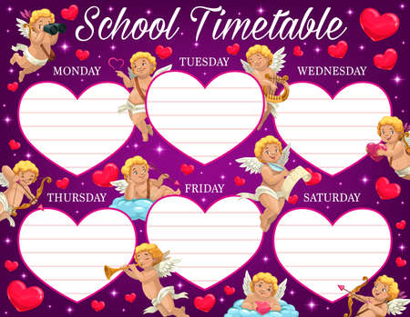 Valentine day child school timetable with amours characters. Kids lessons program, education week planner template. Cupids with lyre, horn and bow, cherubs or angels characters on cloud cartoon vector